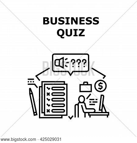 Business Quiz Vector Icon Concept. Business Quiz And Online Test Examination On Computer. Knowledge