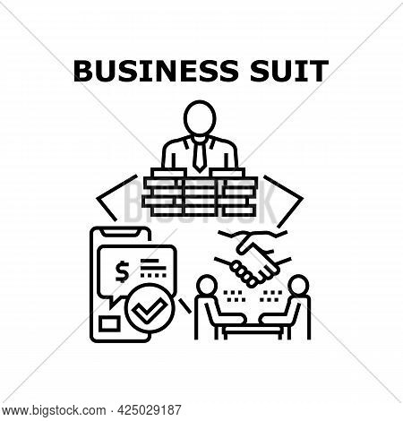Business Suit Vector Icon Concept. Stylish Expensive Business Suit Buying Online And Payment With Sm