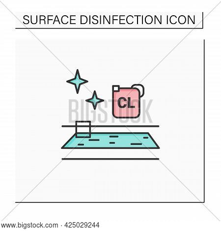 Swimming Pool Disinfection Color Icon. Water Chlorination.public Spaces And Surfaces Disinfection. S