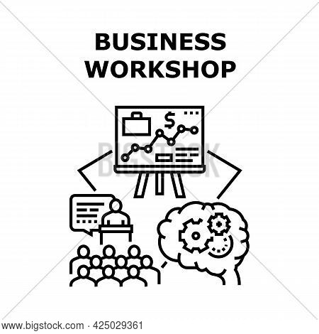 Business Workshop Office Vector Icon Concept. Business Workshop Office Conference Room For Training