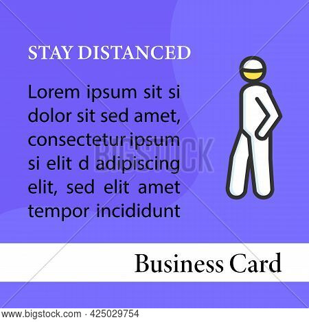 Keep Social Distance Square Business Card.person Entering Covid Infection Area Marketing Template.co