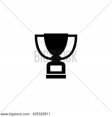 Trophy Prize, Winner Cup, Leader Award. Flat Vector Icon Illustration. Simple Black Symbol On White