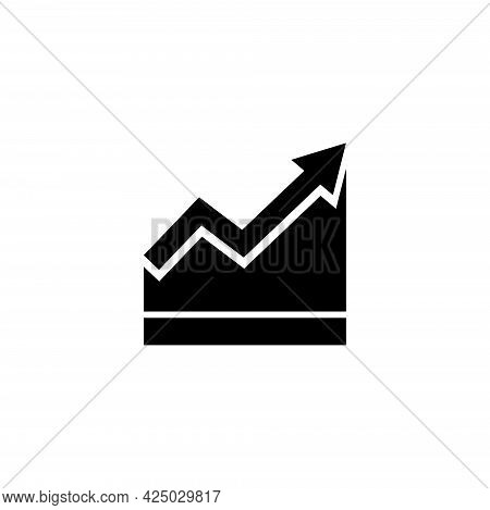 Growing Bar Graph, Growth Diagram, Chart. Flat Vector Icon Illustration. Simple Black Symbol On Whit