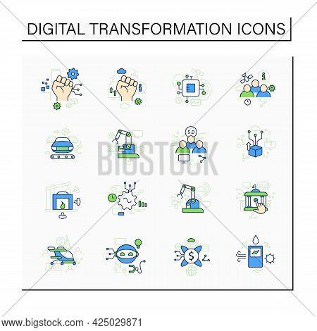 Digital Transformation Color Icons Set. Modern Technologies. Digitalization. Future. Digital Revolut