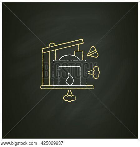 Industry 1.0 Chalk Icon. Mechanization, Water Power. Steam Power. Mechanized Production. Digital Tra