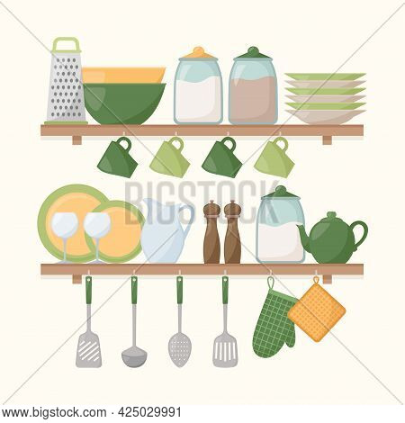 Kitchen Shelves With Cooking Tools. Set Of Kitchen Utensils, Vector Illustration