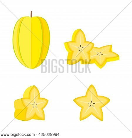 Carambola (star Fruit), Whole Fruit, Half And Slices, Vector Illustration