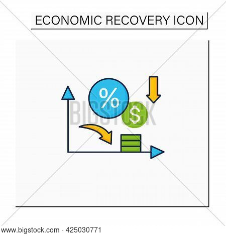 Low Interest Rates Color Icon.stimulate Economic Growth. Low Percentage To Physical And Financial As