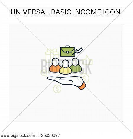 Supporting Workers Color Icon. Supporting Unpaid Care Workers. Caring About Employees. Universal Bas