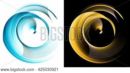 Arcuate Blue And Yellow Elements Are Layered And Rotated On White And Black Backgrounds.  A Set Of G