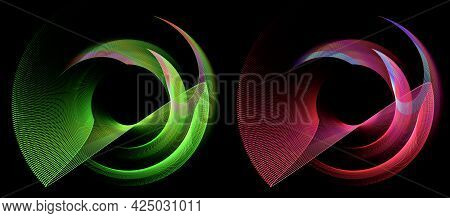 Abstract Propellers Are Composed Of Curved, Striped, Red And Green Elements And Rotate Against A Bla