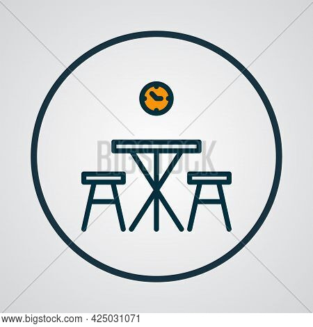 Kitchen Table Icon Colored Line Symbol. Premium Quality Isolated Dining Room Element In Trendy Style
