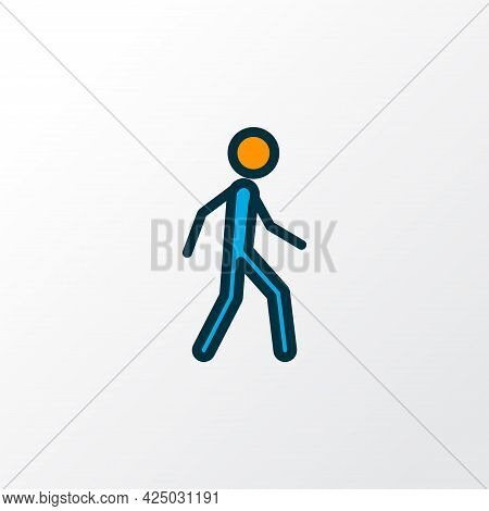 Walking Man Icon Colored Line Symbol. Premium Quality Isolated Runner Element In Trendy Style.