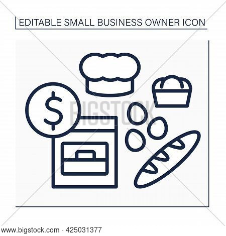 Baking Line Icon. Private Bakery. Confectioners Bake Bread, Cakes, Buns. Oven And Chief Cup. Small B