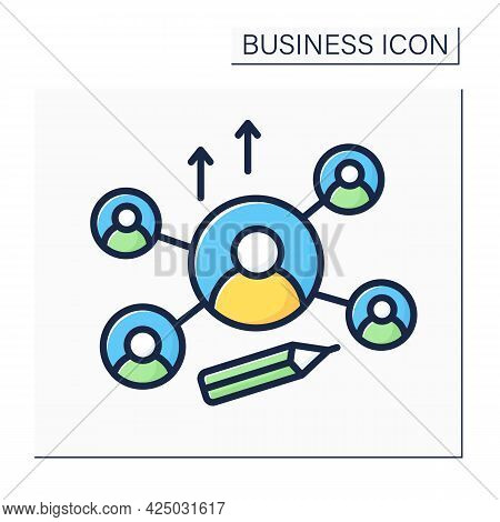 Networking Color Icon. Attract New Investors Or Clients. Communication With Potential Clients. Busin