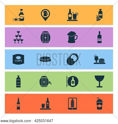 Alcohol Icons Set With Bottle Cap, Container, Scotch And Other Barrel Of Beer Elements. Isolated Vec