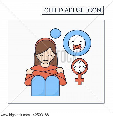 Sexual Abuse Color Icon. Rape. Aggressive Actions Against Young Girl. Depression. Child Abuse Concep