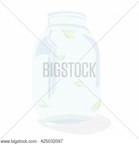 Butterfly In A Glass Jar Vector Stock Illustration. Creature Wings Moth. Catch A Flying Insect. Isol