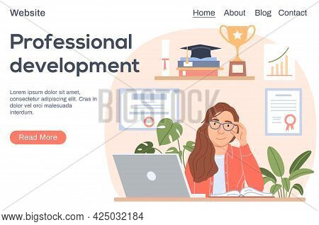 Professional Development Concept. Flat Smiling Successful Woman With Laptop On Education Background