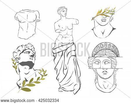 Various Antique Statues. Aphrodite Venus Portrait. Antique Greek Sculpture Set. Antique Statues, Bra
