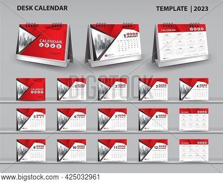 Set Desk Calendar 2023 Template And Desk Calendar 3d Mockup, Calendar 2024-2025 Template, Red Cover