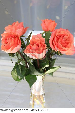Beautiful Bouquet Of Pink Roses In A Vase, Closeup