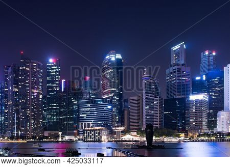 Cityscape Downtown. Night City Urban Skyline Singapore
