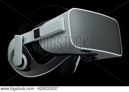 Virtual White Reality Glasses Isolated On Black Background. 3d Rendering Of Goggles For Virtual Desi