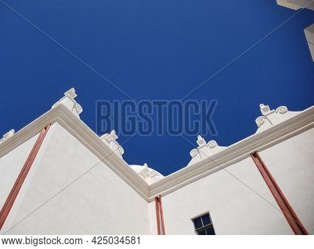 Side Walls Of San Xavier Del Bac Mission In Tucson