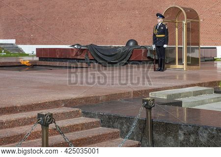 Moscow, Russia - June 01, 2021: Russian Soldier Stands On Guard Next To The Eternal Flame Near The W