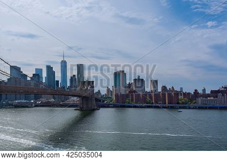 Beautiful Skyline Of Brooklyn Bridge Of Aerial View On New York City Manhattan Panorama With Skyscra