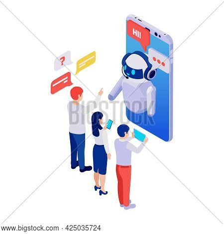People Using Chatbot Messenger Application On Smartphone Isometric 3d Vector Illustration