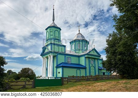 Ancient Wooden Church Of The Holy Trinity In Agricultural Township Blon, Pukhovichi District, Minsk