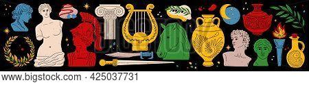 Various Antique Statues. Ancient, Greek Elements Set. Various Antique Items