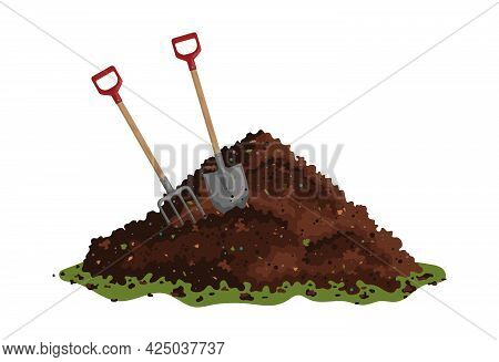 Hayfork And Shovel In A Pile Of Ground. One Big Brown Heap Of Organic Compost In Side View Isolated