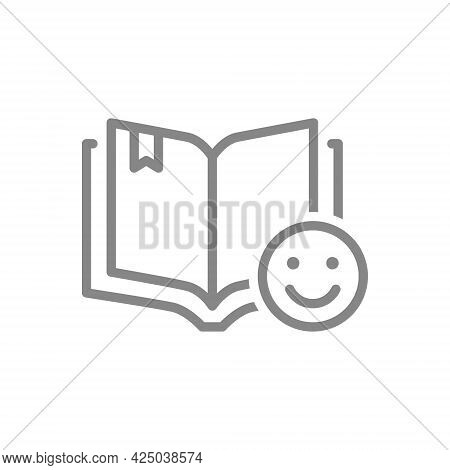 Open Book With Happy Face Line Icon. Happy Rating, Like, Reader Review Symbol