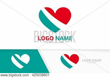 Heart, Love Logotype Combination Design Template. Logotype For Clinic, Medical Center Business Card