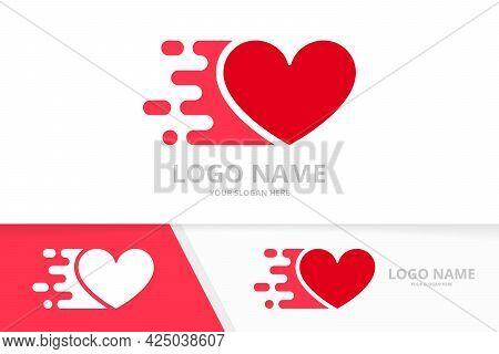 Vector Quick Heart Logo Combination. Fast Love Logotype Design Template.