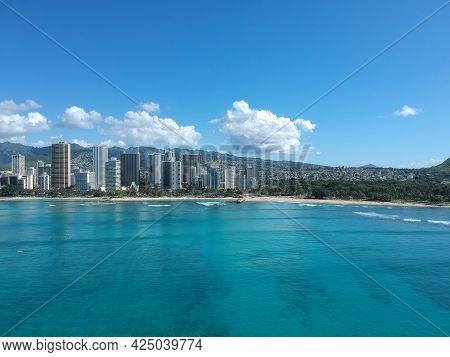 Panorama Aerial Drone View of Waikiki Beach Honolulu Hawaii USA taken from Diamond head. Resorts hot