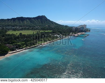 Waikiki Beach Honolulu Hawaii USA Panorama drone Aerial View of the resorts and hotels turquoise blu