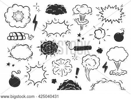 Hand Drawn Explosion, Bomb, Smoke Element. Comic Doodle Sketch. Bomb Cloud, Dynamite, Star Sign. Vec