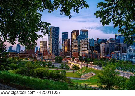 Panoramic Views Of Downtown Calgary In The Summer At Sunrise