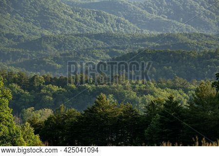 Layers Of Mountains Looking Over Cades Cove In The Smokies