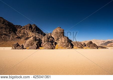 Low Angle View Of The Racetrack Playa And The Grandstand In Death Valley