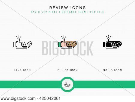 Review Icons Set Vector Illustration With Solid Icon Line Style. Customer Satisfaction Check Concept