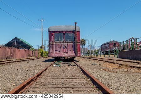 Fort Bragg, California - June 12, 2021: Vintage Passenger Rail Car In Depot Mall And Museum In Fort