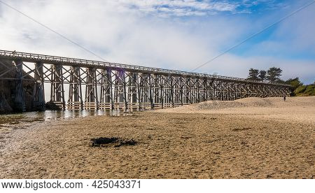 View Of The Pudding Creek Trestle On Pudding Creek Beach In Fort Bragg, California