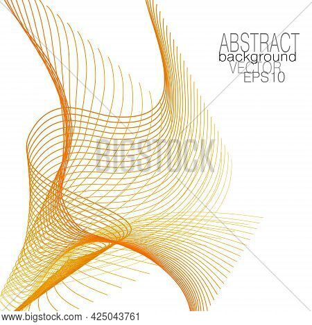 Red, Orange, Yellow Line Art Pattern. Transparent Net Texture. Vector Thin Squiggly Curves. Creative