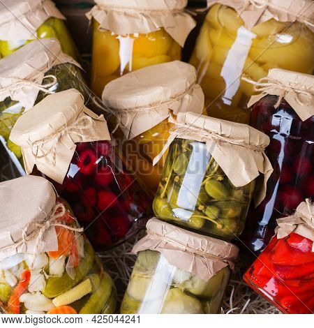 Homemade Preserved, Fermented Food, Pickled, Marinated Vegetables, Fruit Compote