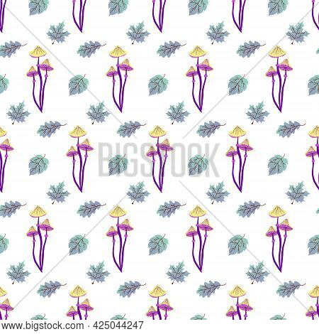 Pattern With Purple Mushrooms And Blue Leaves. Vector Illustration Isolated On White Background. For